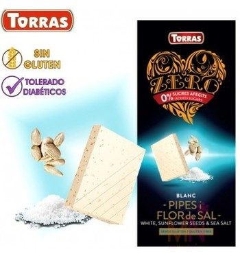 Шоколад Torras zero, білий, White, sunflower seeds & sea salt, без цукру та глютену, 125 г