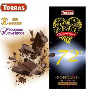 Шоколад Torras zero, Dark chocolate 72% cacao, без глютену, 100 г