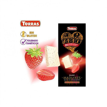 Шоколад Torras zero, White Strawberry, без глютену, 125 г