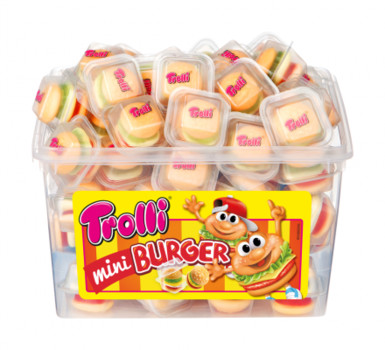 Желейки Trolli Mini Burger, 600 г., (60 шт. в контейнері)